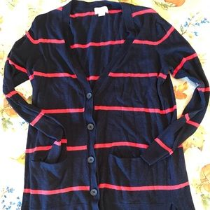 Old Navy navy and red striped button cardigan